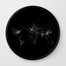 World map Lines Wall Clock