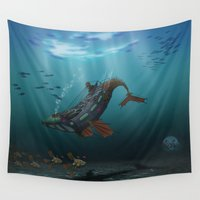 submarine Wall Tapestries featuring Steampunk Humpback Submarine by Jason Simms