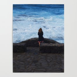 Ocean lover, meditation in front of the sea Poster