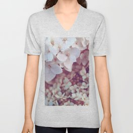 Pink and White Flowers (Color) Unisex V-Neck