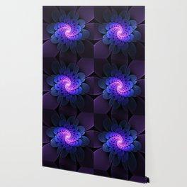 Spiraling Flower Fractal in Blue and Purple Wallpaper