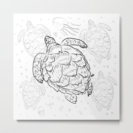 The Hawksbill sea turtle (Tartaruga-de-pente) Metal Print