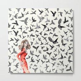 Barcelona Summer Bird Lady Metal Print