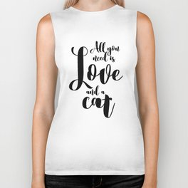All you need is Love and a cat (black) Biker Tank