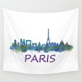 Paris France City Skyline in watercolor HQ Wall Tapestry