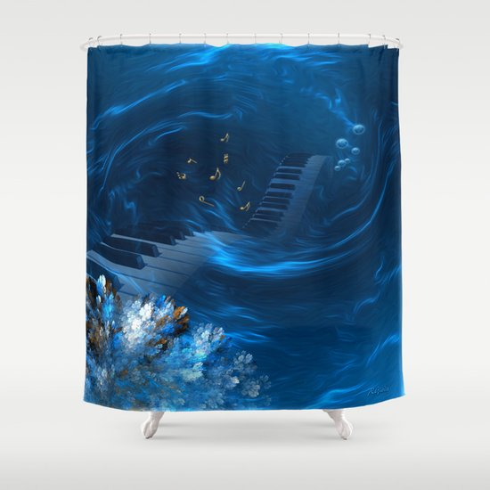 Blue Coral Melody Shower Curtain By Giada Rossi Society6