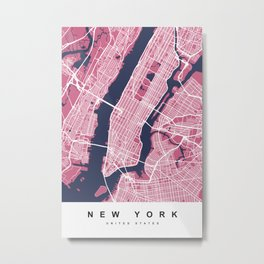 New York Map | Pink | More Colors, Review My Collections Art Print Metal Print