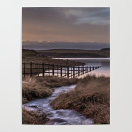 Still waters at the Derwent Reservoir at sunset Poster