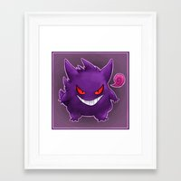 gengar Framed Art Prints featuring Gengar by bonniviwii