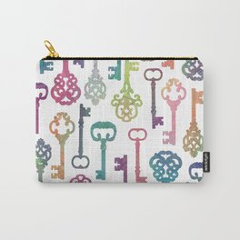 Rainbow Keys on White Carry-All Pouch