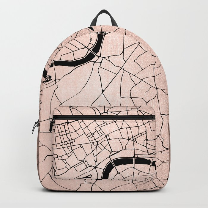 London Rosegold on Black Street Map Backpack
