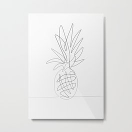 One Line Pineapple Metal Print