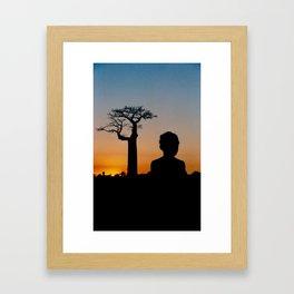 Malagasy girl and Baobab Framed Art Print