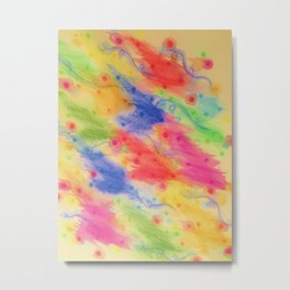 SEEING STARS 2 - Yellow Rainbow Pretty Starry Sky Abstract Watercolor Painting Feminine Pattern Metal Print