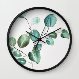 Eucalyptus leaves, illustration, botanical Wall Clock