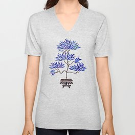 Bonsai Tree – Navy Palette Unisex V-Neck