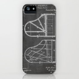 Steinway Grand Piano Patent - Piano Player Art - Black Chalkboard iPhone Case