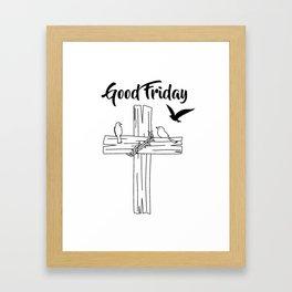Cross With Bird Framed Art Print