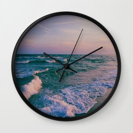 Sunset Crashing Waves Wall Clock