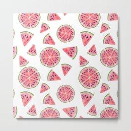 Modern pink green watercolor hand painted watermelon pattern Metal Print