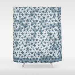 Blue stars on grungey textured white background Shower Curtain