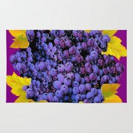 Succulent Purple Vineyard Grapes & Grape Leaves Art Rug