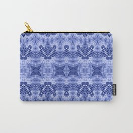 Blue and White Classic Psychedelic Subtle Print Carry-All Pouch