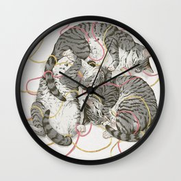 cats gold and rose Wall Clock