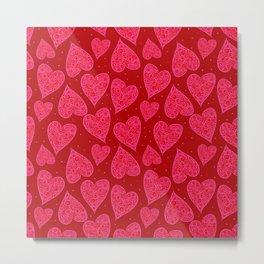 Valentine Hearts Dark Red Background Metal Print