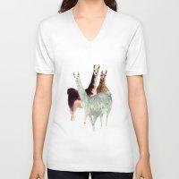 llama V-neck T-shirts featuring Llama by Big AL