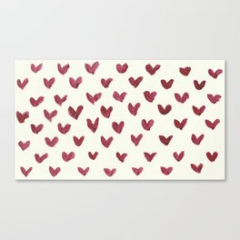 Watercolour Heart Pattern Canvas Print
