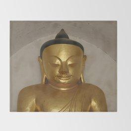 Buddha Head Golden Statue - Myanmar Bagan Throw Blanket