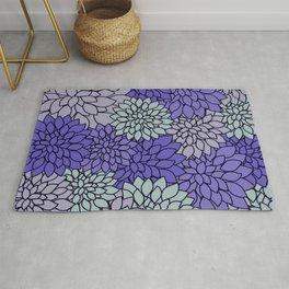 Ultra Violet Periwinkle Gray Dahlias Rug