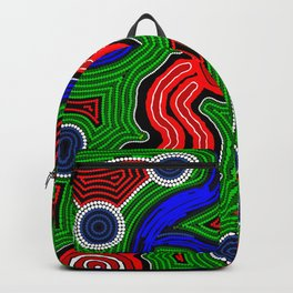 Authentic Aboriginal Art -The Inland Rail 2 Backpack