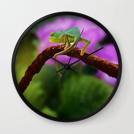 Floral Baby Chameleon Wall Clock