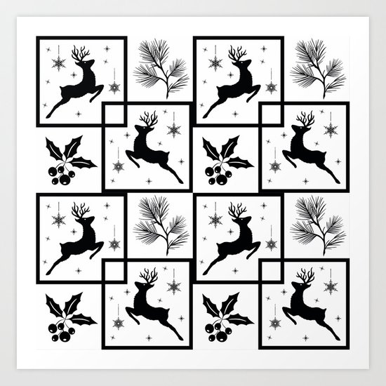 Christmas black and white pattern. Art Print