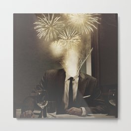 Lovely Head - Fireworks Metal Print