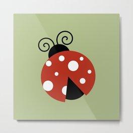 Ladybug (Ladybird, Lady Beetle) - Red White Metal Print
