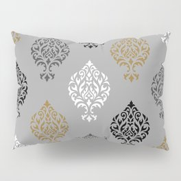Orna Damask Ptn BW Grays Gold Pillow Sham