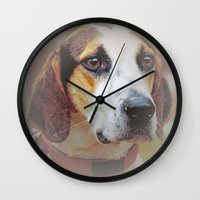 the hound Wall Clocks featuring Hound dog by Doug McRae