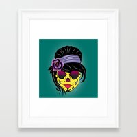 sugar skull Framed Art Prints featuring SUGAR SKULL by mark ashkenazi