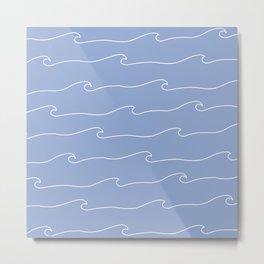 Waves & Lines - Pattern - White & Light Blue Metal Print