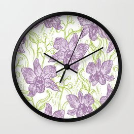 Orchid flowers. Hand drawn on white background olive Green pink purple contour sketch Wall Clock