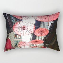 Asia in Red Rectangular Pillow