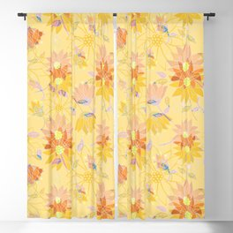 Yellow Hues Decorative Floral Blackout Curtain