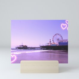 Santa Monica Pier Purple Hearts Mini Art Print