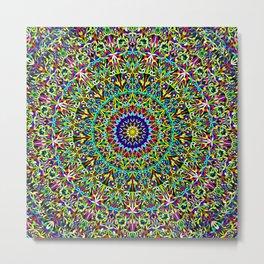 Happy Spiritual Garden Mandala Metal Print
