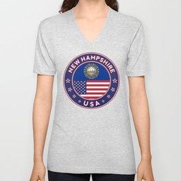 New Hampshire, USA States, New Hampshire t-shirt, New Hampshire sticker, circle Unisex V-Neck