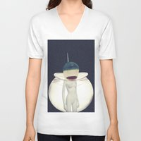 jaws V-neck T-shirts featuring JAWS by delusionARTgallery