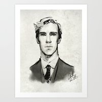 cumberbatch Art Prints featuring benedict cumberbatch  by Angela Taratuta